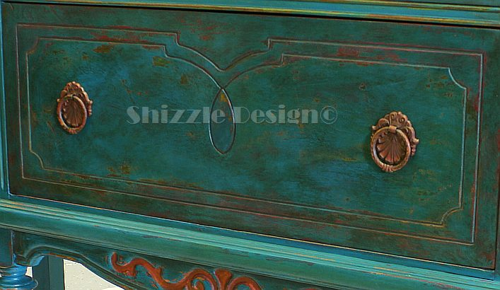 American Paint Company's Peacock hand painted antique buffet Shizzle Design 2018 Chicago Drive Jenison MI  49428 www.shizzle-design.com teal layers drawer