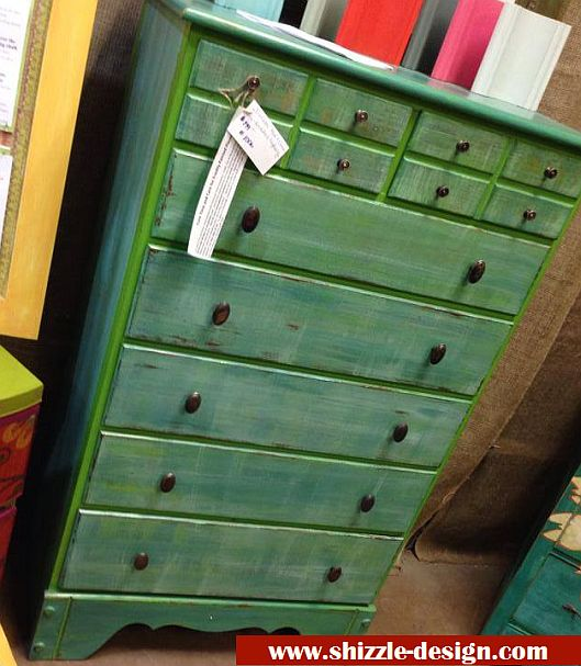 Shizzle Design Highboy Whimsically Dry Brushed In Green