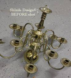 brass candelier before