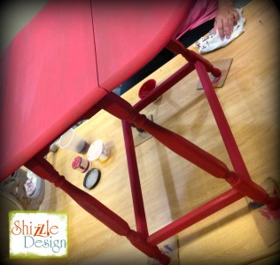 Learn how layer Chalk Paint colors DIY ideas inspiration Shizzle Design painted furniture makeovers workshops best class Grand Rapids Michigan American Paint Company red table