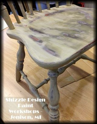Learn how to layer chalk clay paint colors DIY ideas inspiration Shizzle Design painted chair workshops best class Jenison Michigan American Paint
