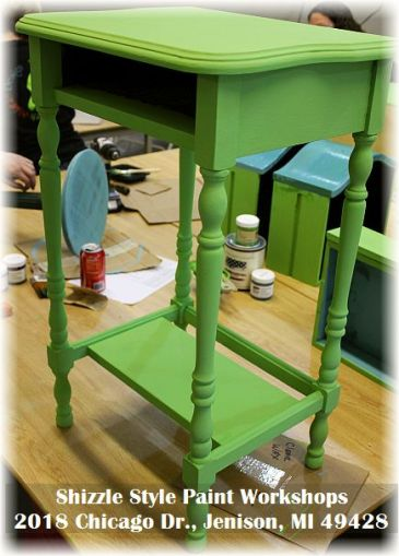 Learn how to layer chalk clay paint colors DIY ideas inspiration Shizzle Design painted furniture makeovers workshops best class Jenison Michigan American Paint green table