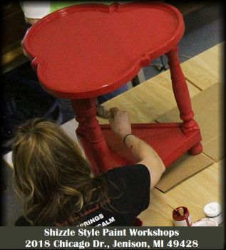 Learn how to layer chalk clay paint colors DIY ideas inspiration Shizzle Design painted furniture red table workshops best class Jenison Michigan American Paint