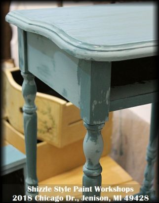 Learn how to layer chalk clay paint colors DIY ideas inspiration Shizzle Design painted furniture table workshops best class Jenison Michigan American Paint