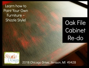 Learn how to layer chalk clay paint colors DIY ideas inspiration Shizzle Design painted oak file cabinet red black Michigan American Paint Company