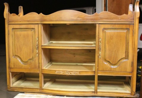 before picture Shizzle Design French Provincial buffet hand painted american paint company chalk clay paints Shizzle Design Grand Rapids MI