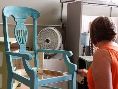 Learn how layer Chalk Paint colors DIY ideas inspiration Shizzle Design painted furniture makeovers workshops best class Grand Rapids Michigan American Paint Company teal beach glass chair 1