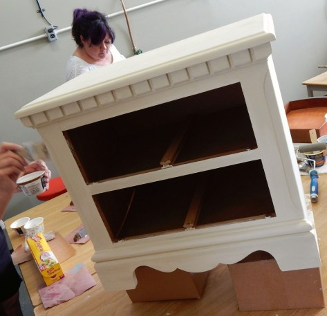 Learn how layer chalk clay paint colors DIY ideas inspiration Shizzle Design painted furniture makeovers workshops best class Jenison Michigan American Paint Company Limoges cream