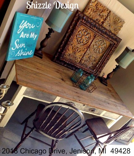Vintage Library Harvest Farm Table painted chalk clay paints Shizzle Design American Paint Company White Gray Reclaimed Barn Wood 2