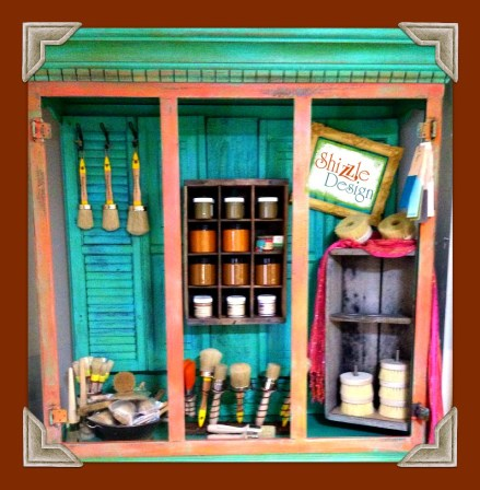 Shizzle Design buy American Paint Company chalk clay paint Vintiquities brushes display hutch turquoise