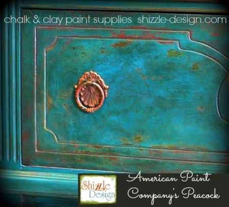 American Paint Company's Peacock shizzle design painted furniture chalk paint supplies michigan best retailer