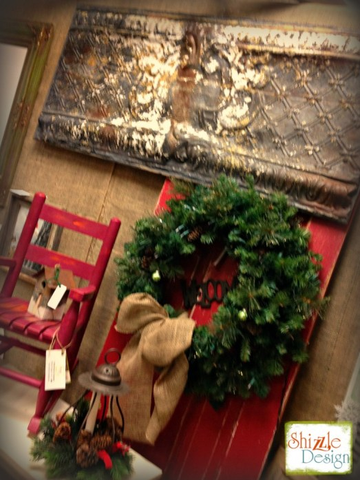 Christmas 2014 Not So Shabby Open House American Paint Company Shizzle Design Chalk paint supplies red door wreath 35