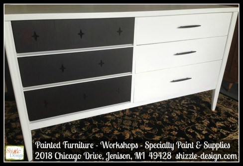 Mid Century Modern Broyhill Saga Star white paint Shizzle Design Grand Rapids Michigan chalk painted furniture stars 3