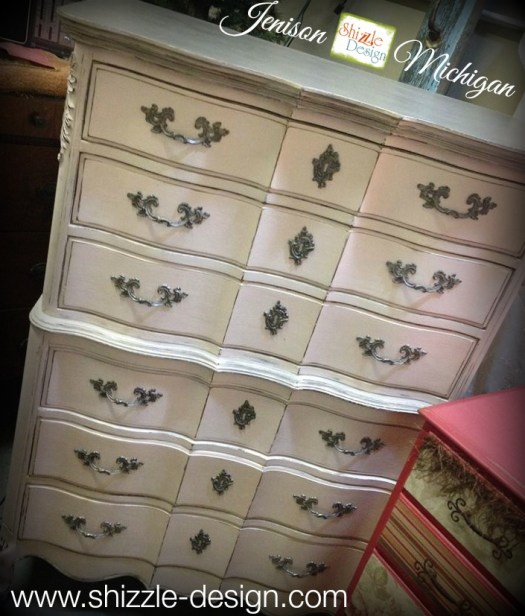 gray pink painted highboy chalk clay paint shizzle design grand rapids mi american paint company dresser ideas