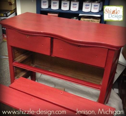 Firework's Red - Curved Oak Dresser shizzle design chalk paint ideas painted furniture michigan