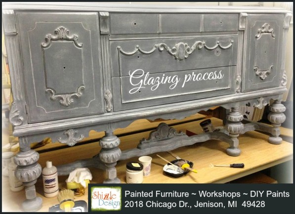 Tarnished Platter American Paint Company Shizzle Design gray blue buffet sideboard chalk painted furniture ideas Michigan white glaze tutorial tips