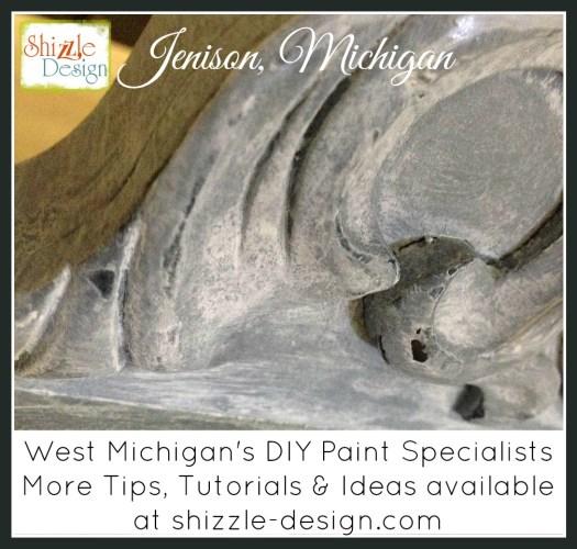 Tarnished Platter American Paint Company Shizzle Design gray blue buffet sideboard chalk painted furniture ideas Michigan white wash glaze wax 3