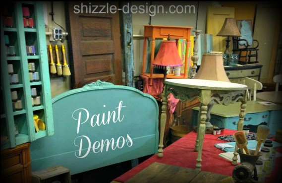 SHIZZLE DESIGN chalk paint demo best classes workshops instructors Grand Rapids MIchigan furniture painting