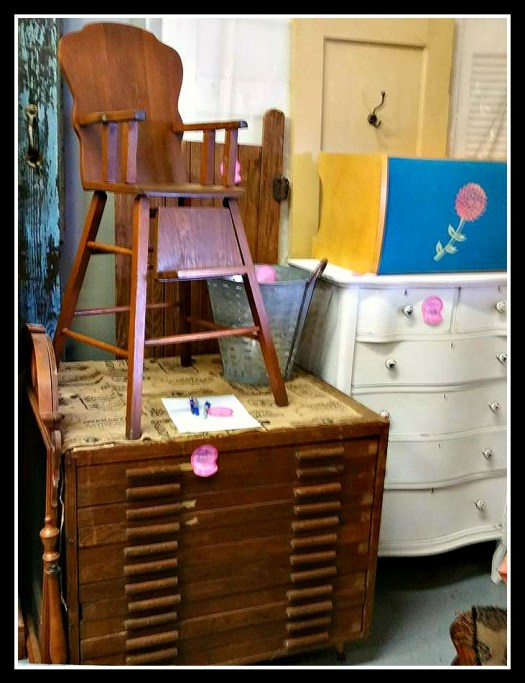 Curvy antique highboy dresser white wood, children's vanity bench, vintage primative cabinet, wooden high chair