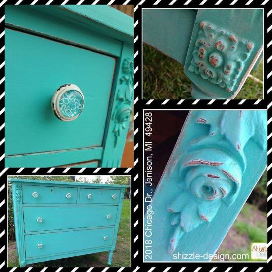 Junk Gypsy™ Wanderlust blue chalk painted dresser Shizzle Design Grand Rapids Michigan 49428 collage