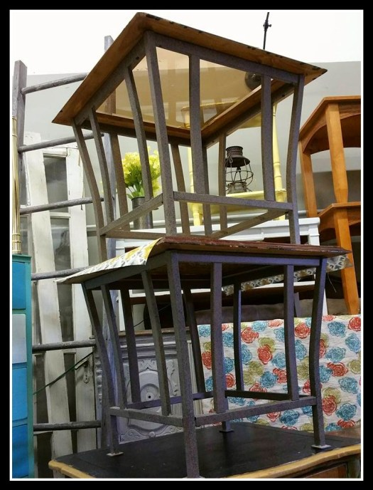 Pair glass table top end tables with metal base and wood frame