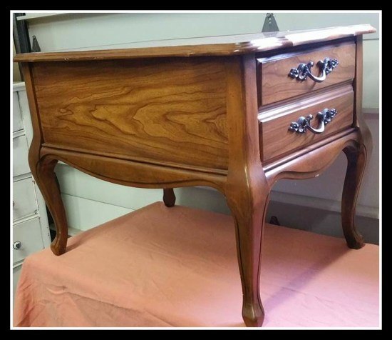 wooden end table with french provincial drawer pulls