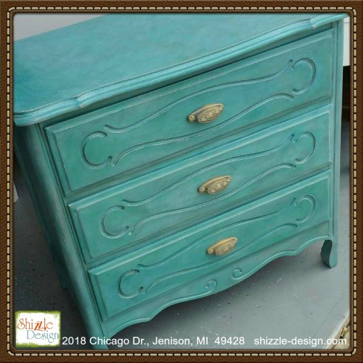 Anguilla - french provincial rustic and white wax small blue turquoise teal dresser chalk paint supplier michigan shizzle design