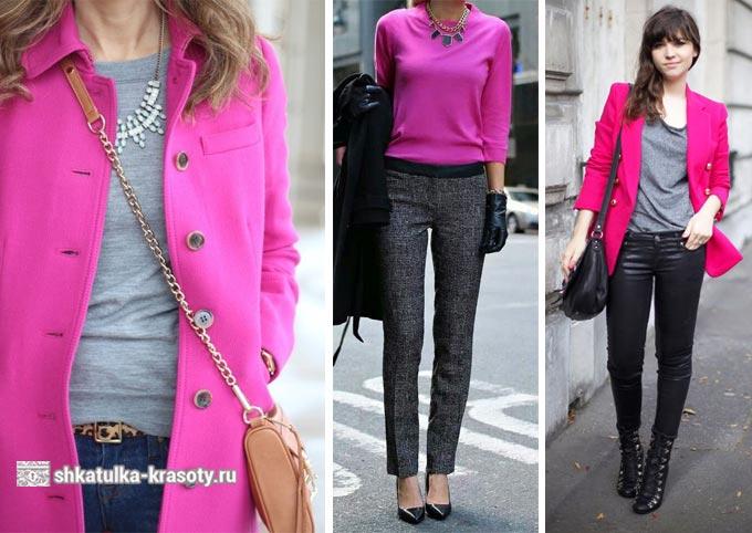 Pink cerah dan abu-abu dalam pakaian