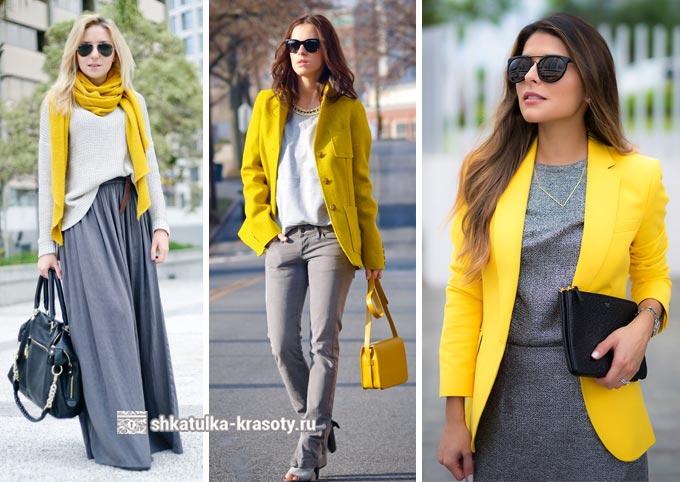 Kombinasi abu-abu dan kuning dalam pakaian