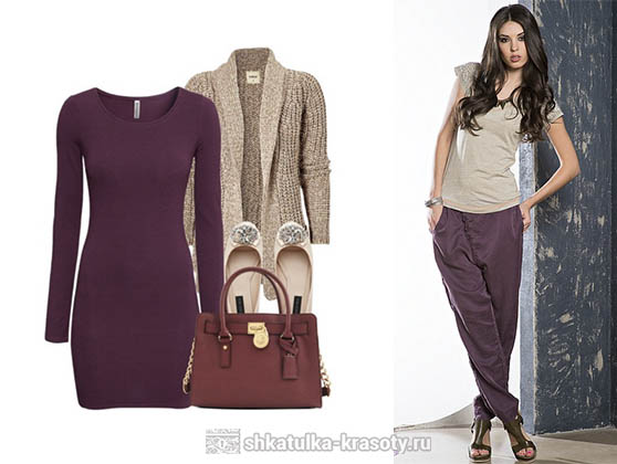 Plum color in clothes beige