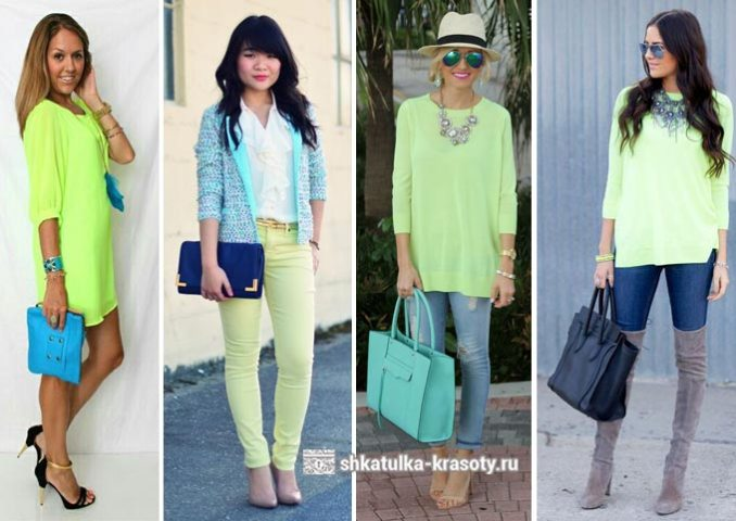 a combination of light green and blue in clothes