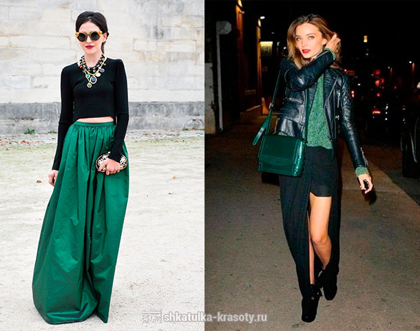 Emerald color in clothes. Combination
