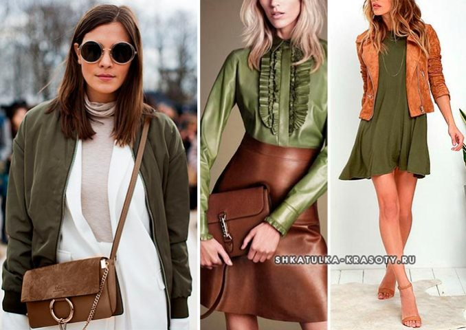 color combination with khaki in clothes photo