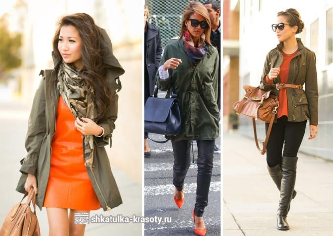 orange in combination with khaki in clothes