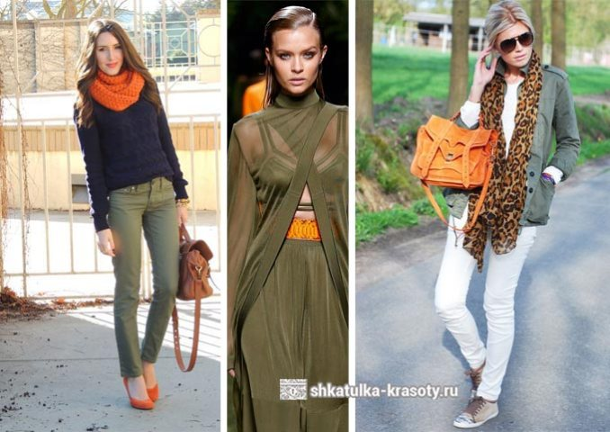 Khaki in combination with orange in clothes photo
