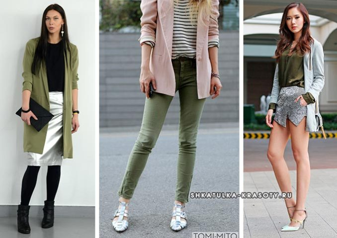 combination of silver and green in women's clothing