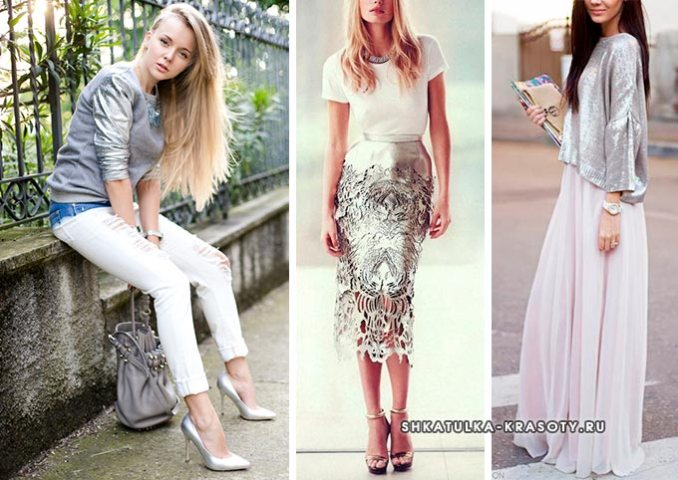 combination of silver and white in clothes