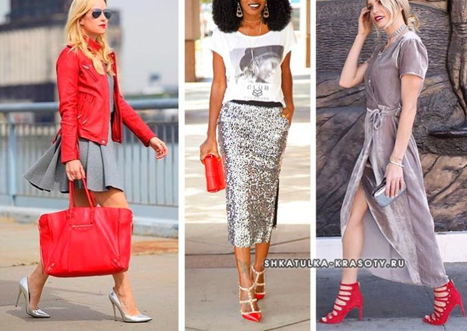 combination of red and silver in clothes