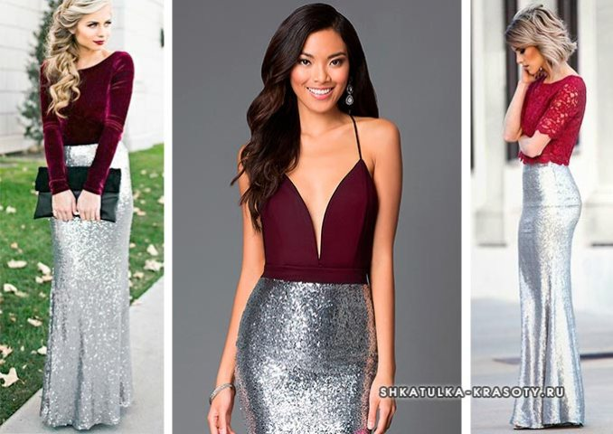 silver metallic color combined with burgundy in clothes