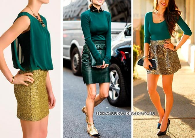 green and gold color in clothes