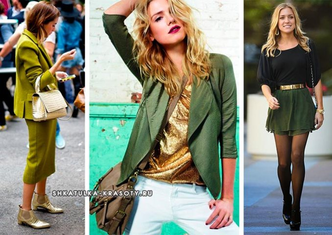a combination of gold and green in clothes