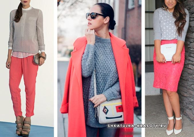 color combination in clothes coral with gray