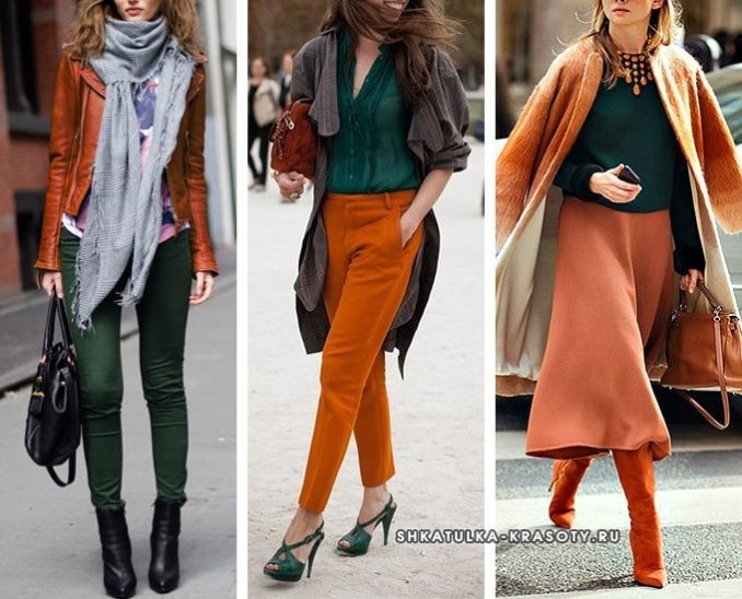 brick and green in clothes