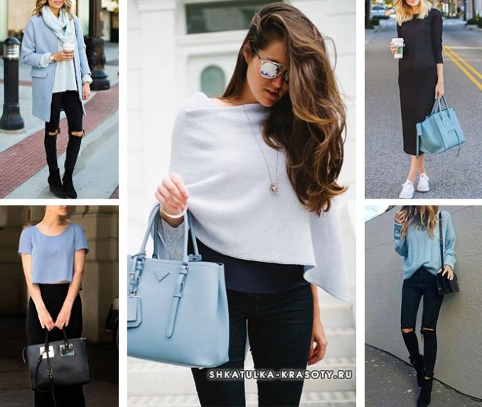 what to wear with gray-blue