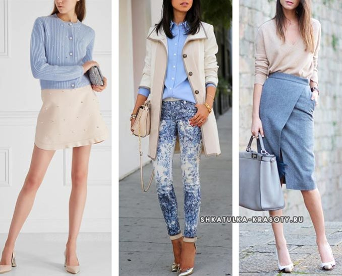 GRAY-BLUE (serenity) color in clothes - combination 3