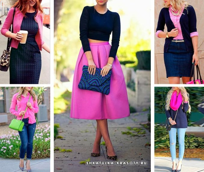 pink and dark blue in clothes
