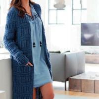 Пальто с поперечными полосами