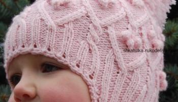 вязание спицами, шапочка, для девочки, зимняя, с ушками, араны