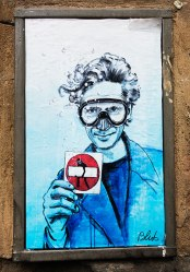 Street art is alive and well in Florence. This is a combination piece by Blub of another street artist, Clet.