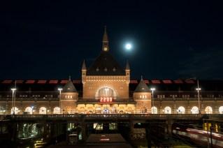 Full moon over Copenhagen Central train station.